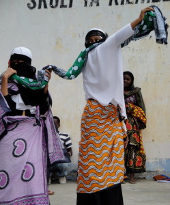 Women covered - Student play - Zanzibar